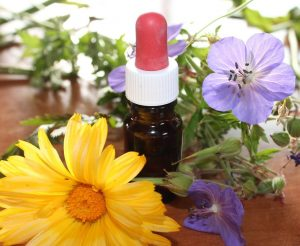 Flowers and dropper bottle on table SalemNaturalMedicine.com