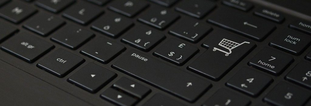 Image of keyboard with shop for enter key and caption Shop Virtually Anywhere