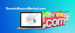 Domain buyers market image of laptop with TLDs like .com, .info