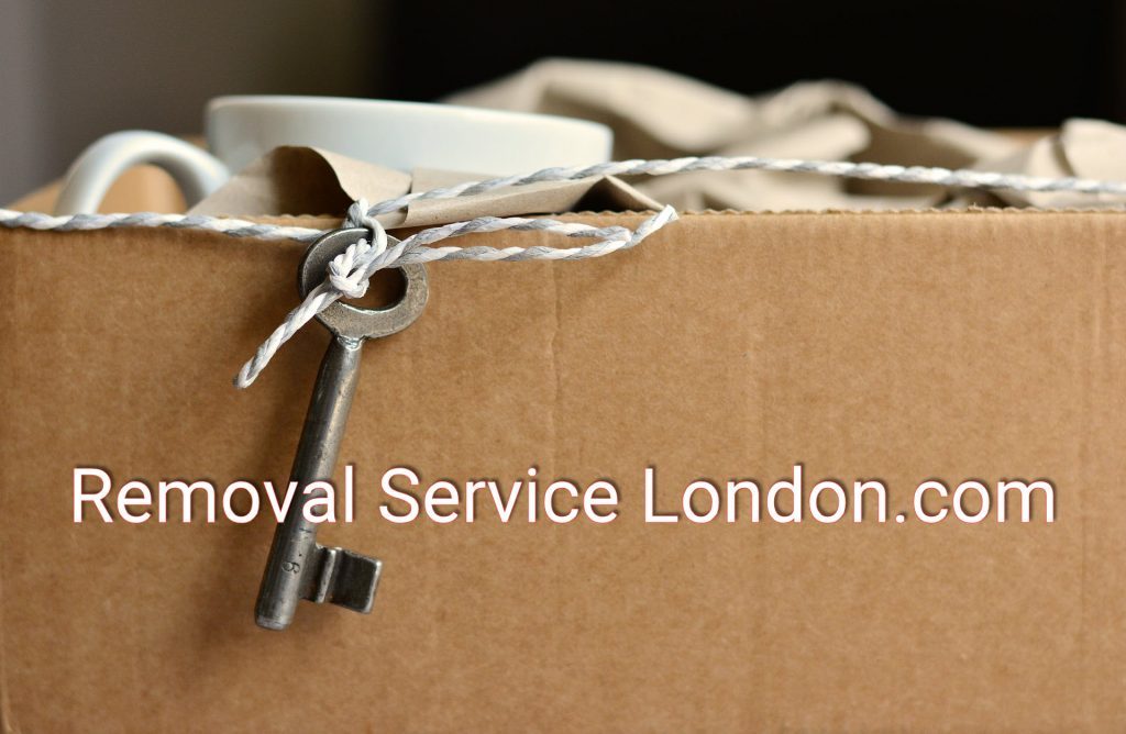 Cardboard box with cup and saucer and key representing removal service London.